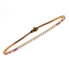 Jona Pink Sapphire White Diamond 18 Karat Rose Gold Tennis Bracelet
