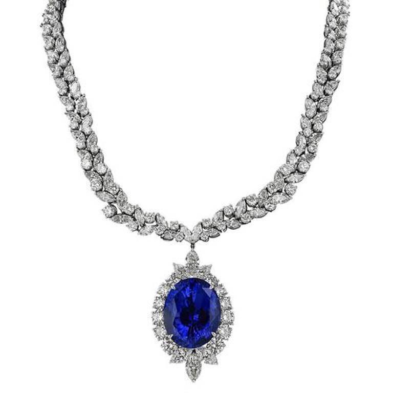 50.14 Carat Oval Ceylon Sapphire Diamond Platinum Enhancer Necklace For Sale
