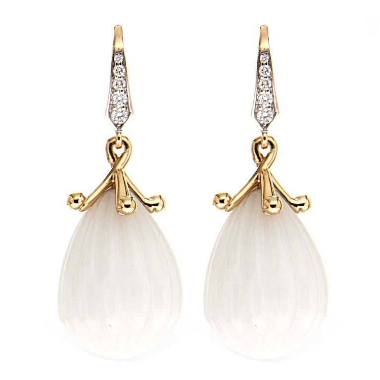 Carved White Opal Diamond Gold Drop Earrings