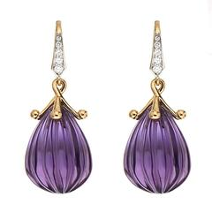 Carved Amethyst Drop Earrings with Diamonds