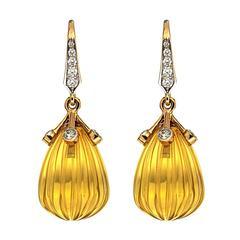 Carved Citrine Diamond Drop Earrings