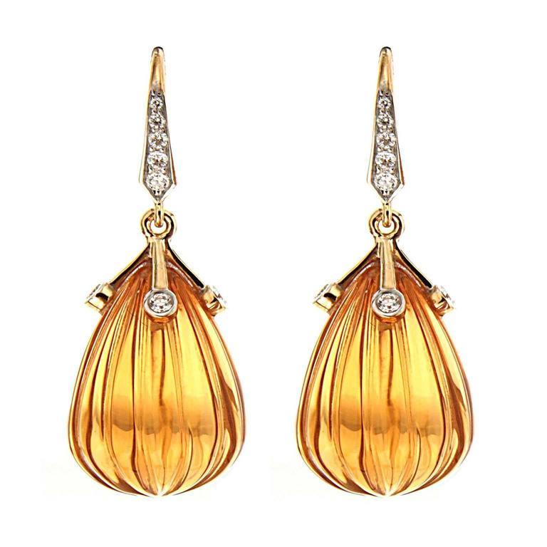 Carved Madeira Citrine Diamond Gold Drop Earrings For Sale