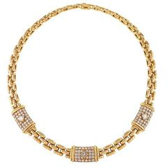 Cartier Paris 1990s Diamond and Gold Trinidad Necklace