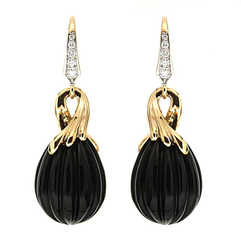 Carved Onyx Diamond Gold Drop Earrings