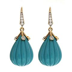 Carved Turquoise Diamond Gold Drop Earrings