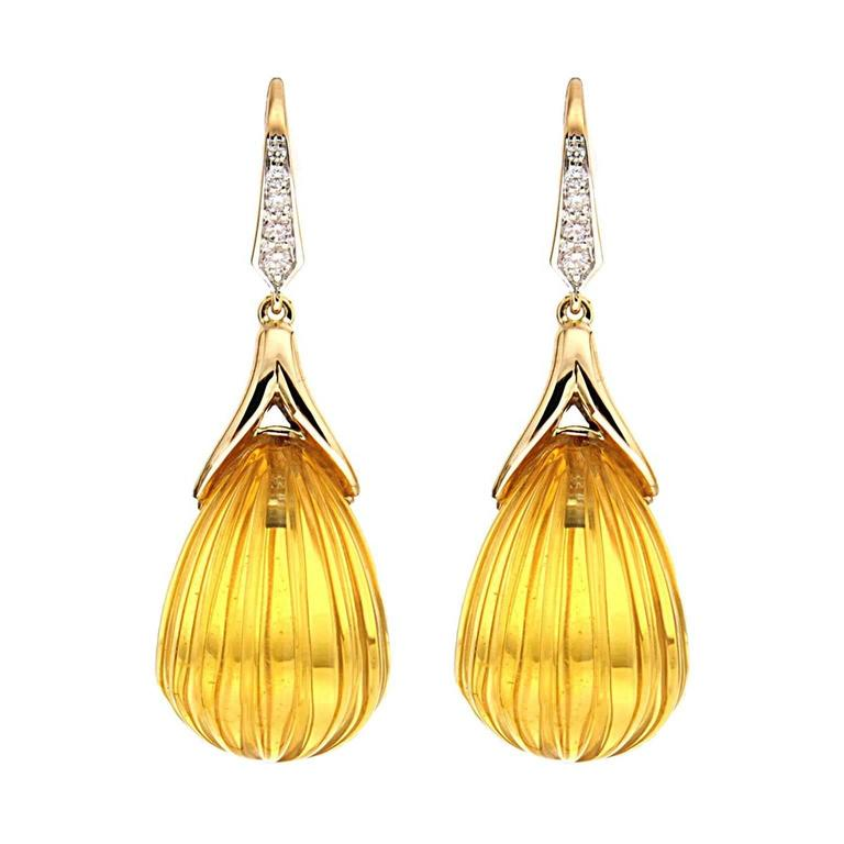 Carved Citrine Diamond Gold Drop Earrings