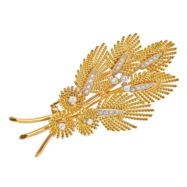 Diamond Gold Platinum Leaf Pin