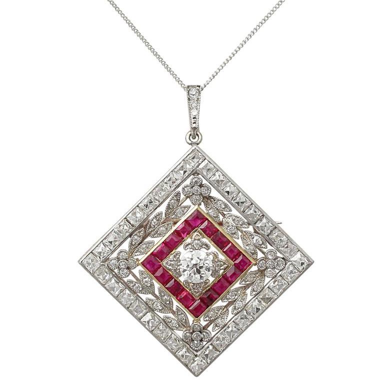 1900 Antique Ruby 3.48 Carats Diamonds Gold Platinum Pendant Brooch 1