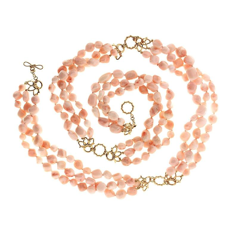 Angel Skin Nugget Coral Necklace
