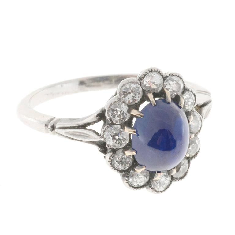 1.75 Carat Dome Natural Cabochon Sapphire Diamond Halo Platinum Engagement Ring