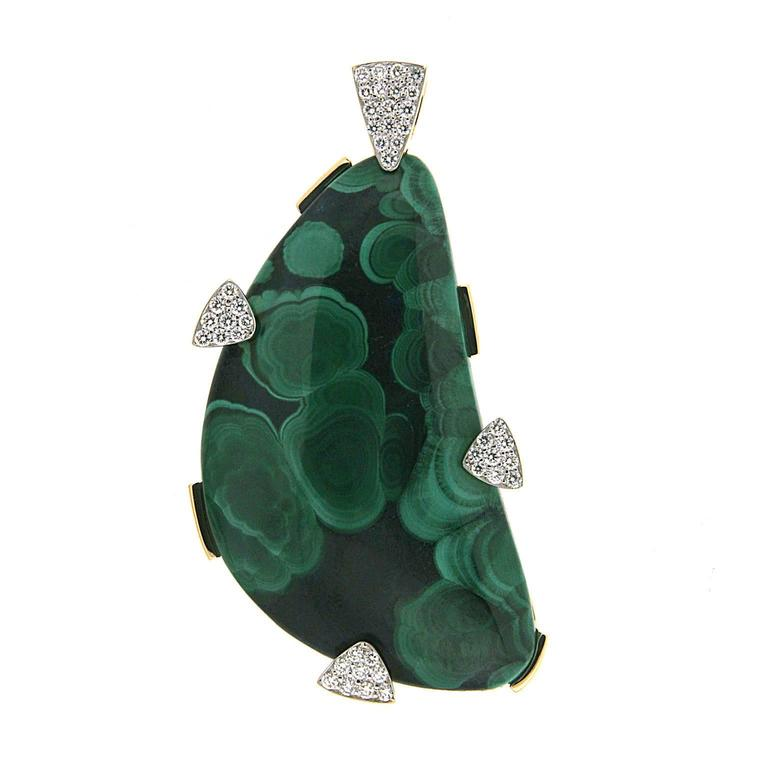 Azurite Malachite Diamond Gold Pendant