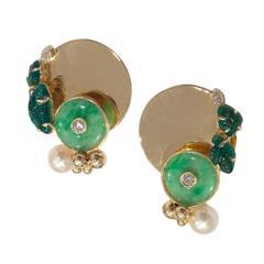 Jean Vendome Pearl Jade Emerald Earclips
