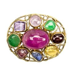 Retro Multi-Stone Oval Gold Brooch Pin