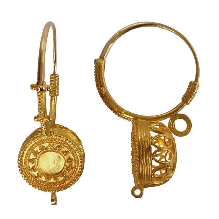 Italian Granulated Gold Basket Earrings For