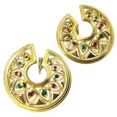 Cartier Ruby Emerald Gold Medallion Ear-Clips