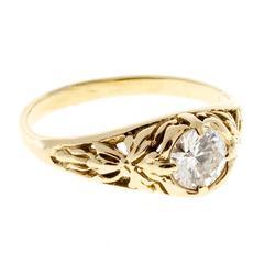 Diamond Gold Filigree Engagement Ring