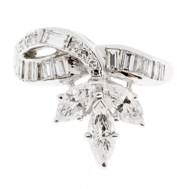 Marquise Baguette Diamond Gold Swirl Ring