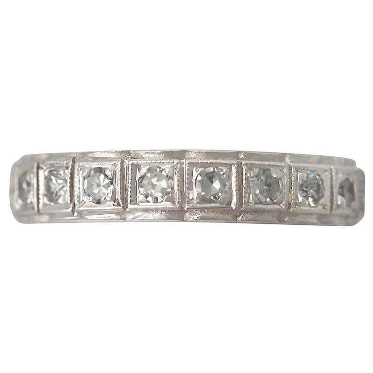 0.75Ct Diamond and 18k White Gold Full Eternity Ring - Vintage Circa 1960