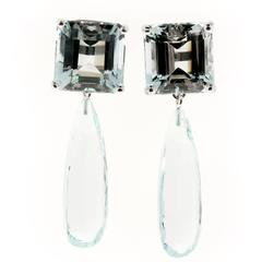 Peter Suchy Natural Untreated Aquamarine Gold Dangle Earrings