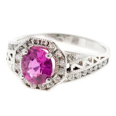1.12 Carat Cushion Natural Pink Sapphire Diamond Halo Platinum Engagement Ring