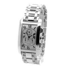 Cartier White Gold Tank Americaine Chronoflex Wristwatch Ref W26033L1