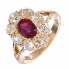 Natural Ruby and Old Mine Diamond Gold Engagement Ring