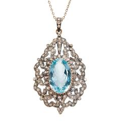 Aquamarine Diamond Silver Gold Pendant Necklace