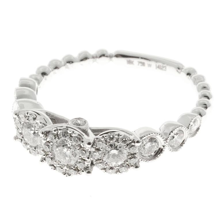 Diamond Gold Triple Halo 3 Stone Engagement Ring