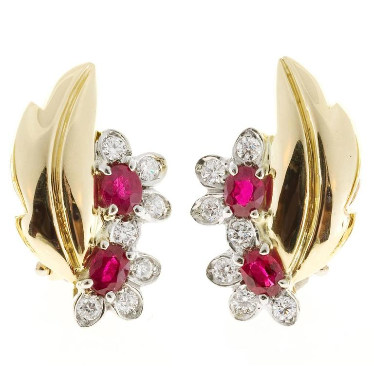 Ruby Diamond Gold Flower Leaf Design Clip Post Earrings