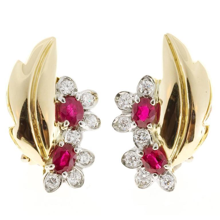 Ruby Diamond Gold Flower Leaf Design Clip Post Earrings For Sale