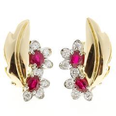 Ruby Diamond Gold Flower Leaf Design Clip Post Earrings