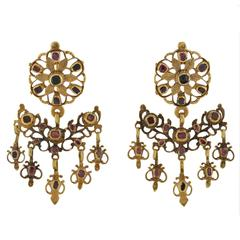 Georgian Garnet Gold Earrings