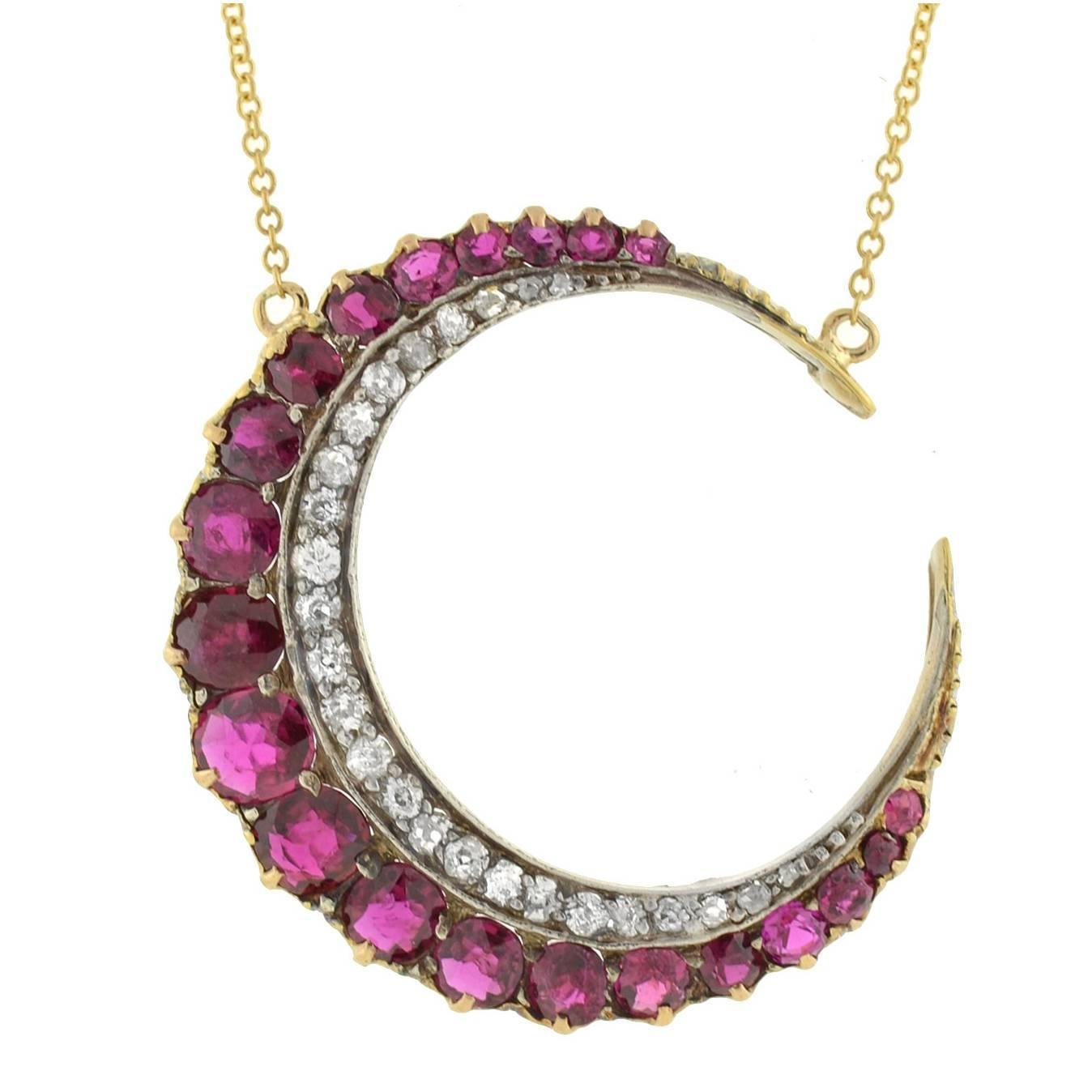 ruby silver gold crescent moon necklace