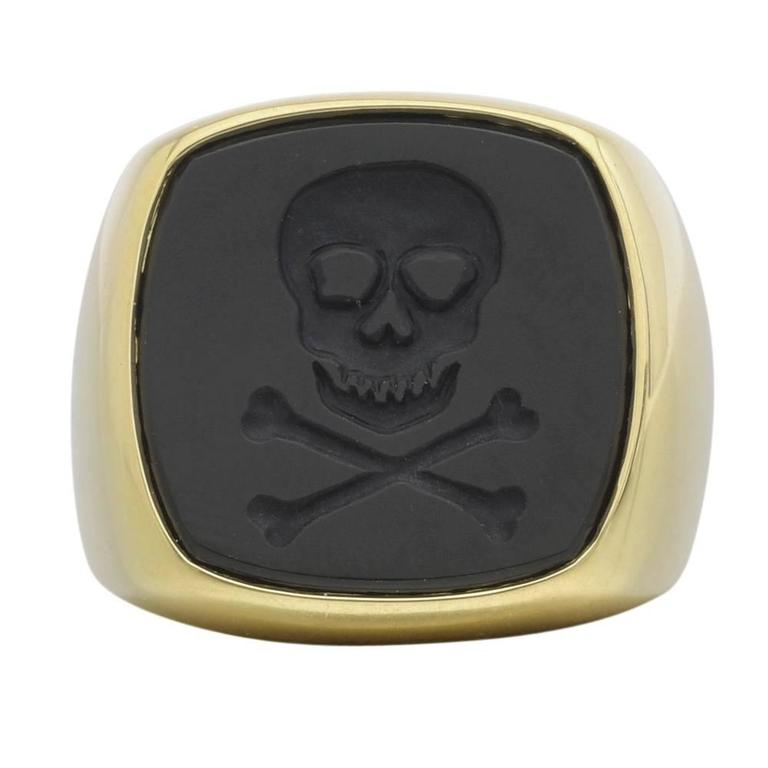 Skull and Crossbones Black Agate Gold Signet Ring