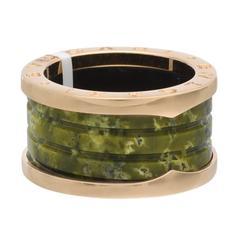 Bulgari Green Marble Gold B.Zero1 Band Ring