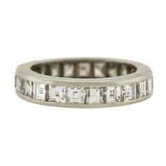 Retro Square Cut Diamond Platinum Eternity Band Ring