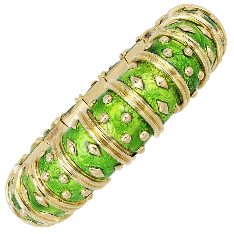 Tiffany & Co. Schlumberger Green Enamel Gold Bangle Bracelet