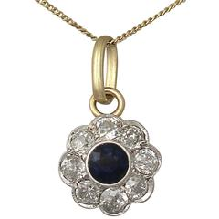 Antique 0.36Ct Sapphire & 0.40Ct Diamond, 14k Gold & Platinum Set Pendant