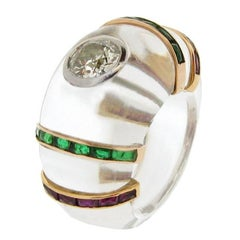 Emerald Ruby Diamond Cocktail Ring in Rock Crystal by Rene Boivin, circa 1950