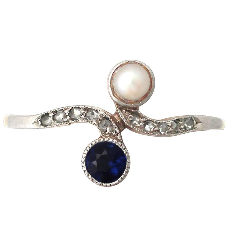 0 30ct Sapphire Pearl 0 09ct Diamond And 14k Yellow Gold