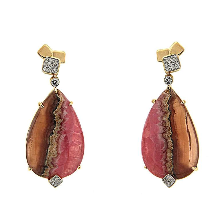 Pear Shape Honey Rhodochrosite Earrings with Diamond Cubic Tops