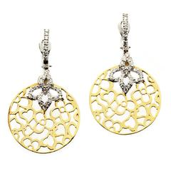 Stambolian Yelllow White Two-Tone Gold and Diamond Floral Drop Earrings