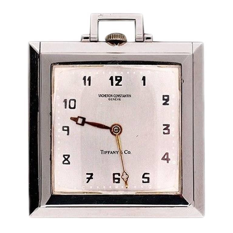 Vacheron & Constantin Platinum Square Pocket Watch Retailed by Tiffany & Co.