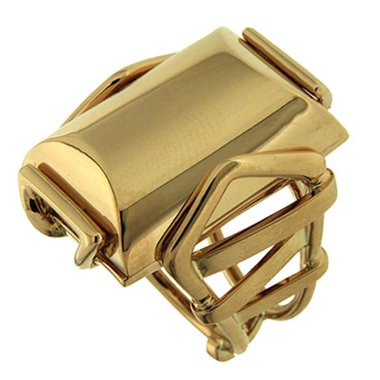 Large Rectangular Gold High Polish Trellis Ring 1