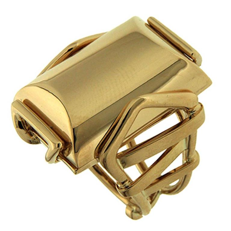Valentin Magro Large Rectangular Gold High Polish Trellis Ring