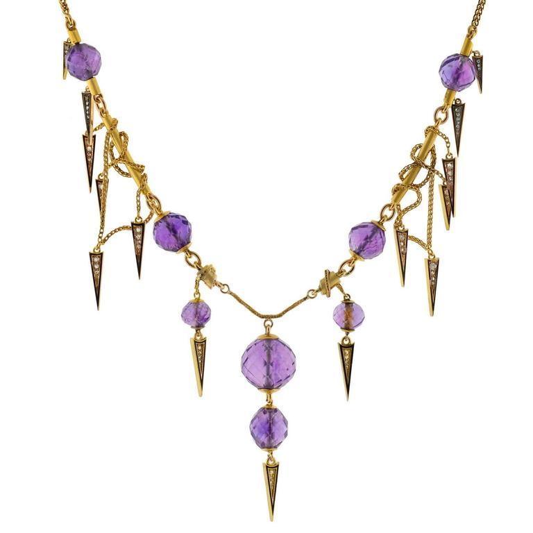 Victorian Enameled Amethyst Rose Cut Diamond Gold Festoon Necklace