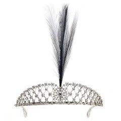 Edwardian Diamond Platinum Aigrette Feather Tiara