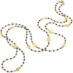 Barbara Heinrich Dazzling Faceted Black Diamond 36 Inch Gold Petals Necklace