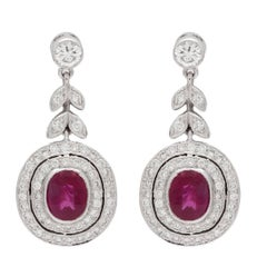 Burmese Ruby Diamond Gold Earrings