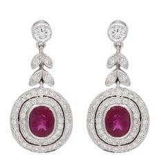 Burmese Ruby Diamond Gold Earrings